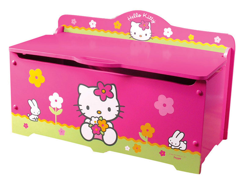 acheter hello kitty fleurs coffre a jouets avec frein hello kitty. Black Bedroom Furniture Sets. Home Design Ideas