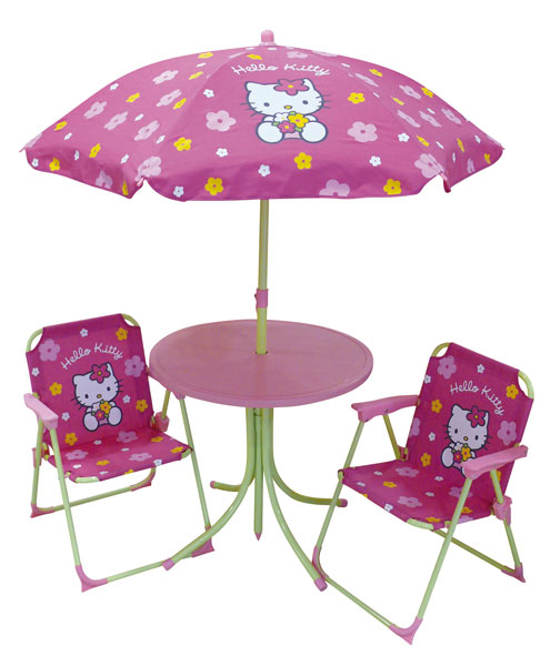 acheter hello kitty fleurs set de jardin table parasol 2 chaises hello kitty. Black Bedroom Furniture Sets. Home Design Ideas